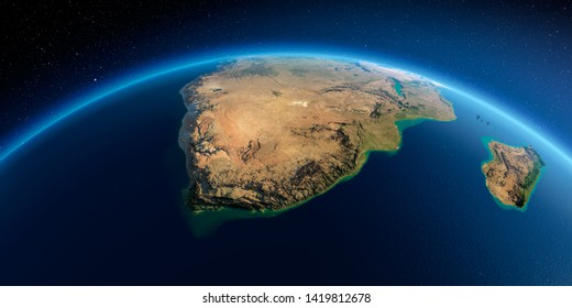 Highly detailed planet Earth in the morning. Exaggerated precise relief lit morning sun. Detailed Earth. South Africa. 3D rendering. Elements of this image furnished by NASA
