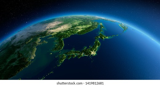 Highly detailed planet Earth in the morning. Exaggerated precise relief lit morning sun. Part of Asia, the Japanese sea. 3D rendering. Elements of this image furnished by NASA