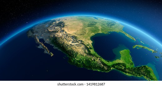 Highly detailed planet Earth in the morning. Exaggerated precise relief lit morning sun. Mexico. 3D rendering. Elements of this image furnished by NASA