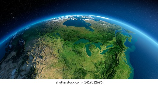 Highly detailed planet Earth in the morning. Exaggerated precise relief lit morning sun. Detailed Earth. United States and Canada. Great Lakes. 3D rendering. Elements of this image furnished by NASA