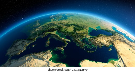 Highly detailed planet Earth in the morning. Exaggerated precise relief lit morning sun. Europe - Italy, Greece and the Mediterranean Sea. 3D rendering. Elements of this image furnished by NASA