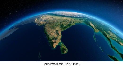 Highly detailed planet Earth in the morning. Exaggerated precise relief lit morning sun. Detailed Earth. India and Sri Lanka. 3D rendering. Elements of this image furnished by NASA
