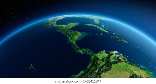 Highly detailed planet Earth in the morning. Exaggerated precise relief lit morning sun. Detailed Earth. The countries of Central America. 3D rendering. Elements of this image furnished by NASA