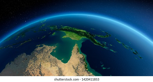 Highly detailed planet Earth in the morning. Exaggerated precise relief lit morning sun. Detailed Earth. Australia and Papua New Guinea. 3D rendering. Elements of this image furnished by NASA