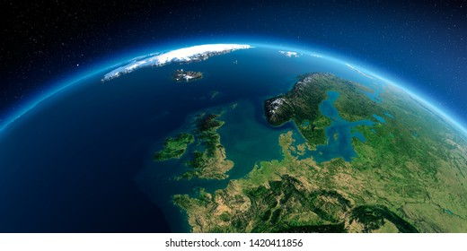 Highly detailed planet Earth in the morning. Exaggerated precise relief lit morning sun. Detailed Earth. United Kingdom and the North Sea. 3D rendering. Elements of this image furnished by NASA