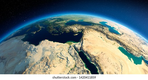 Highly detailed planet Earth in the morning. Exaggerated precise relief lit morning sun. Africa and Middle East. 3D rendering. Elements of this image furnished by NASA