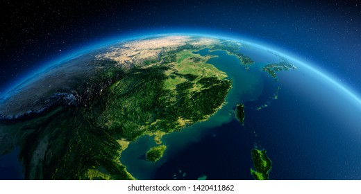 Highly detailed planet Earth in the morning. Exaggerated precise relief lit morning sun. Eastern China and Taiwan. 3D rendering. Elements of this image furnished by NASA