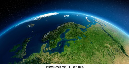 Highly detailed planet Earth in the morning. Exaggerated precise relief lit morning sun. Detailed Earth. Europe. Scandinavia. 3D rendering. Elements of this image furnished by NASA