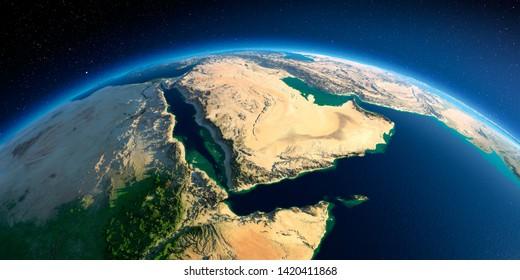 Une planète Terre très détaillée le matin. Un relief précis exagéré illuminé le soleil du matin. Péninsule arabique, Golfe d'Aden, Arabie Saoudite. Rendu 3D. Éléments de cette image fournis par la NASA