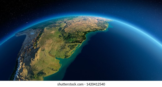 Highly detailed planet Earth in the morning. Exaggerated precise relief lit morning sun. Detailed Earth. South America. Rio de La Plata. 3D rendering. Elements of this image furnished by NASA