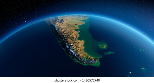 Highly detailed planet Earth in the morning. Exaggerated precise relief lit morning sun. Detailed Earth. South America. Tierra del Fuego. 3D rendering. Elements of this image furnished by NASA