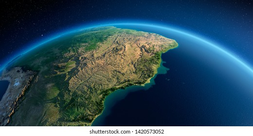 Highly detailed planet Earth in the morning. Exaggerated precise relief lit morning sun. South America, East Coast of Brazil. 3D rendering. Elements of this image furnished by NASA