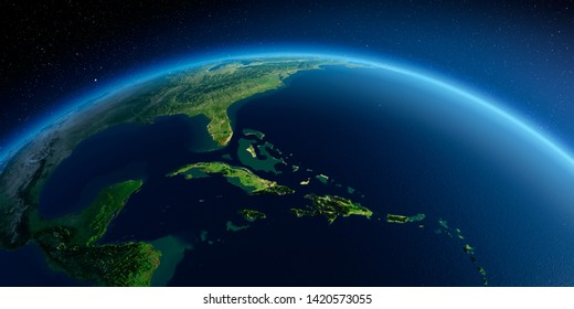 Highly detailed planet Earth in the morning. Exaggerated precise relief lit morning sun. Detailed Earth. Caribbean Sea and the Gulf of Mexico. 3D rendering. Elements of this image furnished by NASA