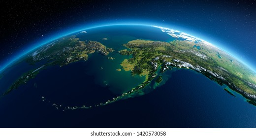 Highly detailed planet Earth in the morning. Exaggerated precise relief lit morning sun. Detailed Earth. Chukotka, Alaska and the Bering Strait. 3D rendering. Elements of this image furnished by NASA