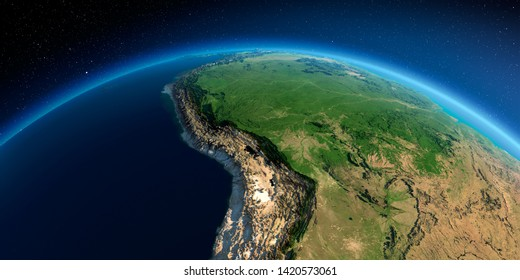 Highly detailed planet Earth in the morning. Exaggerated precise relief lit morning sun. Detailed Earth. Bolivia, Peru, Brazil. 3D rendering. Elements of this image furnished by NASA