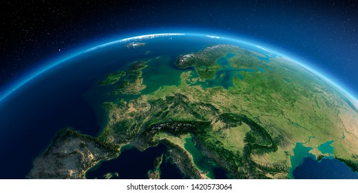 Highly detailed planet Earth in the morning. Exaggerated precise relief lit morning sun. Detailed Earth. Central Europe. 3D rendering. Elements of this image furnished by NASA