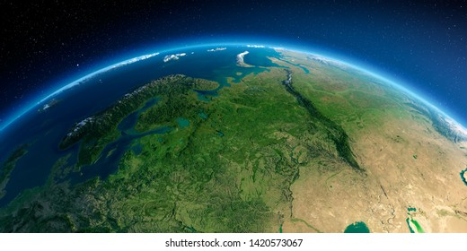 Highly detailed planet Earth in the morning. Exaggerated precise relief lit morning sun. Detailed Earth. European part of Russia. 3D rendering. Elements of this image furnished by NASA