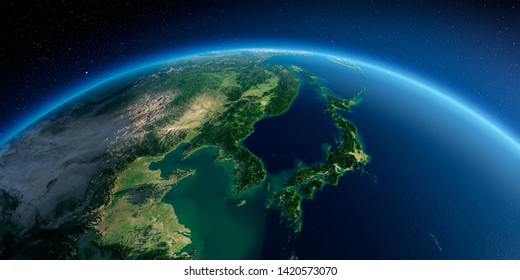 Highly detailed planet Earth in the morning. Exaggerated precise relief lit morning sun. Detailed Earth. Korea and Japan. 3D rendering. Elements of this image furnished by NASA