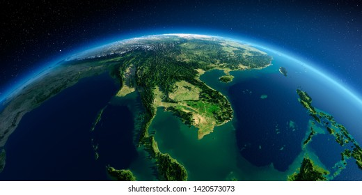 Highly detailed planet Earth in the morning. Exaggerated precise relief lit morning sun. Detailed Earth. Indochina peninsula. 3D rendering. Elements of this image furnished by NASA
