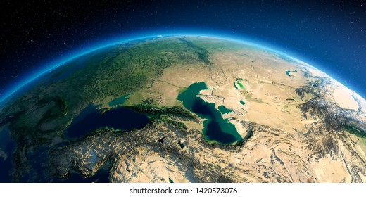 Highly detailed planet Earth in the morning. Exaggerated precise relief lit morning sun. Detailed Earth. Caucasus. 3D rendering. Elements of this image furnished by NASA