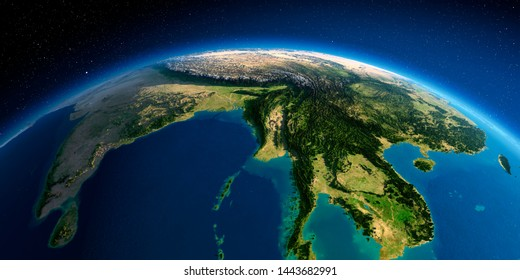 Highly detailed planet Earth in the morning. Exaggerated precise relief lit morning sun. The eastern part of India, Bangladesh, Nepal, Bhutan.  3D rendering.  Elements of this image furnished by NASA