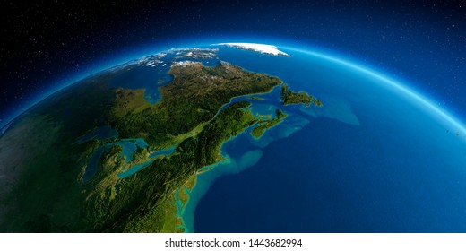 Highly detailed planet Earth in the morning. Exaggerated precise relief lit morning sun. Northeast US and Eastern Canada. 3D rendering. Elements of this image furnished by NASA