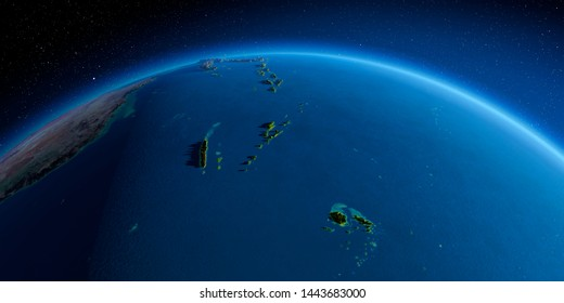 Highly detailed planet Earth in the morning. Exaggerated precise relief lit morning sun. South Pacific. Fiji, New Caledonia, Solomon Islands. 3D rendering. Elements of this image furnished by NASA