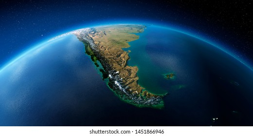 Highly detailed planet Earth in the morning. Exaggerated precise relief lit morning sun. South America. Tierra del Fuego. 3D rendering. Elements of this image furnished by NASA