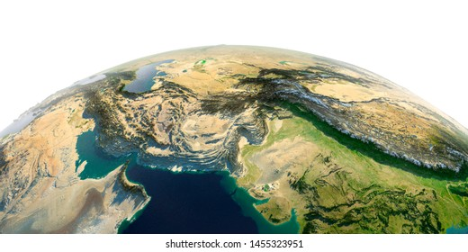 Highly detailed planet Earth in the morning. Exaggerated precise relief lit morning sun. South Asia. Pakistan, Afghanistan, India. 3D rendering. Elements of this image furnished by NASA