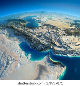 Highly detailed planet Earth in the morning. Exaggerated precise relief lit morning sun. Persian Gulf. Elements of this image furnished by NASA
