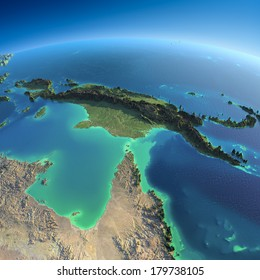 Highly detailed planet Earth in the morning. Exaggerated precise relief lit morning sun. Detailed Earth. Australia and Papua New Guinea. Elements of this image furnished by NASA