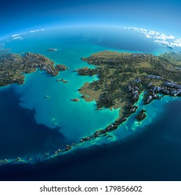 Highly detailed planet Earth in the morning. Exaggerated precise relief lit morning sun. Detailed Earth. Chukotka, Alaska and the Bering Strait. Elements of this image furnished by NASA