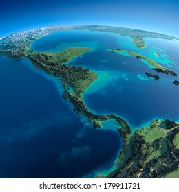 Highly detailed planet Earth in the morning. Exaggerated precise relief lit morning sun. Detailed Earth. The countries of Central America. Elements of this image furnished by NASA