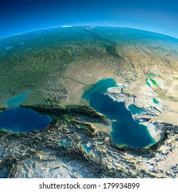 Highly detailed planet Earth in the morning. Exaggerated precise relief lit morning sun. Detailed Earth. Caucasus. Elements of this image furnished by NASA