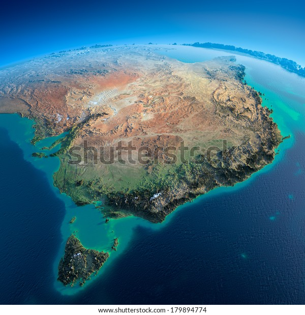 Highly detailed planet Earth in the morning. Exaggerated precise relief lit morning sun. Detailed Earth. Australia and Tasmania. Elements of this image furnished by NASA