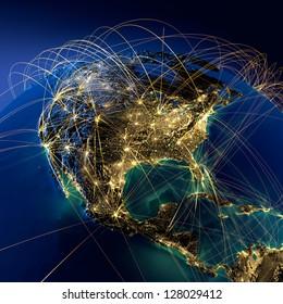 Planète Terre très détaillée la nuit, illuminée par la lumière des villes, entourée d'un réseau lumineux, représentant les principales routes aériennes à partir de données réelles. Éléments de cette image fournis par la NASA