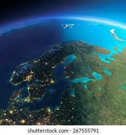 Highly detailed planet Earth. Night with glowing city lights gives way to day. The boundary of the night & day. Europe. Scandinavia. Elements of this image furnished by NASA