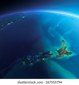 Highly detailed planet Earth. Night with glowing city lights gives way to day. The boundary of the night & day. New Zealand. Elements of this image furnished by NASA