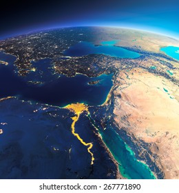Highly detailed planet Earth. Night with glowing city lights gives way to day. The boundary of the night & day. Africa and Middle East. Elements of this image furnished by NASA