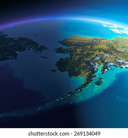 Highly detailed planet Earth. Night with glowing city lights gives way to day. The boundary of the night & day. Chukotka, Alaska and the Bering Strait. Elements of this image furnished by NASA