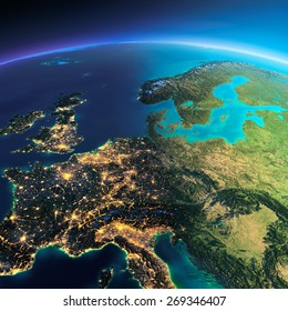 Highly detailed planet Earth. Night with glowing city lights gives way to day. The boundary of the night & day. Central Europe. Elements of this image furnished by NASA