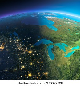 Highly detailed planet Earth. Night with glowing city lights gives way to day. The boundary of the night & day. The northern U.S. states and Canada. Elements of this image furnished by NASA