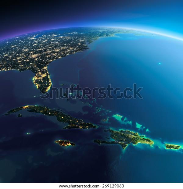 Planeta Tierra muy detallado. La noche con luces relucientes da paso al día. El límite de la noche
