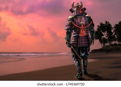 Highly detailed raster llustration of Japanese samurai wearing traditional medieval armor is walking by an ocean beach against the sunset sky. A photo from my archive has been used for a background.