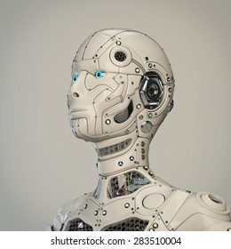 Highly detailed robot girl head
