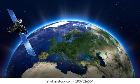 Highly detailed telecommunication satellite orbiting the Earth. Europe map. 3D rendering.