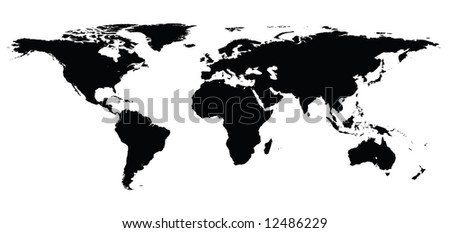 Highly Detailed World Map Black Manually Stock Illustration