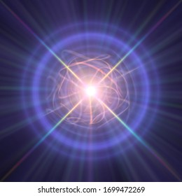 Highly magnetized rotating neutron star, abstract illustration