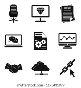 Highly qualified specialist icons set. Simple set of 9 highly qualified specialist icons for web isolated on white background