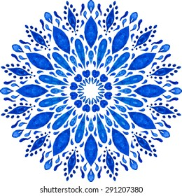 Highly-detailed Mandala. Watercolor Hand Drawn Round Ornament. Lacy Ethnic Pattern. Indian, Arabic, Islam, ottoman motif. Blue Ornamental Rosette Isolated on White Background.